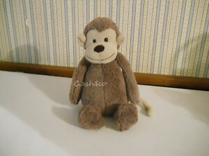 "JellyCat Bashful Monkey soft brown tan face & tail 12"" tall excellent"