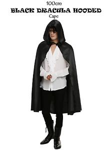 110cm BLACK HOOD DRACULA CAPE Ladies Girls Fancy Dress Costume Halloween Party