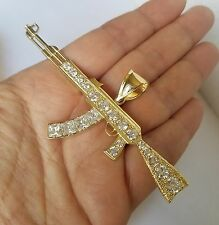 Big real solid 14k yellow Gold AK-47 Gun Pendant 3.50 inch wide