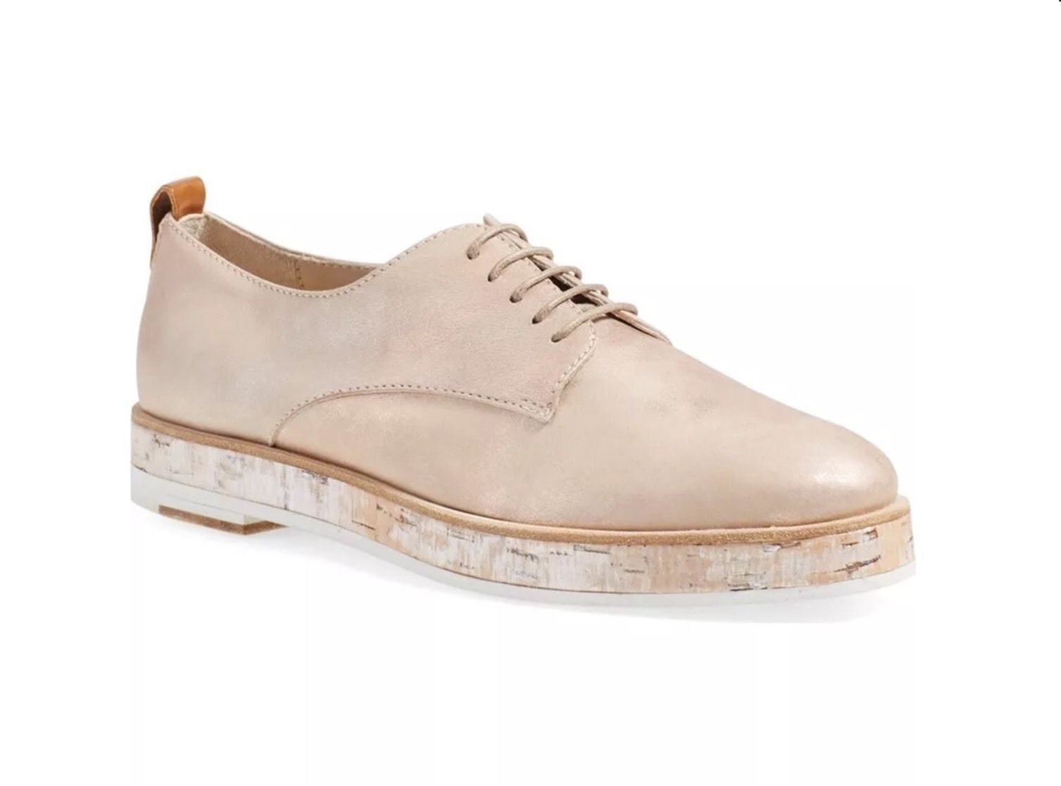 380 New Sz.6.5 AGL Double Sole Cork Platform Oxford Leather scarpe Nude Metallic
