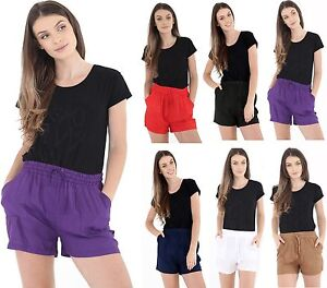 Womens-Ladies-Short-Length-Linen-Summer-Casual-Shorts-UK-Size-10-12-14-16-18