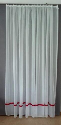 Gardine Store Voile Höhe 140 cm mit aufgesetztem Satinband