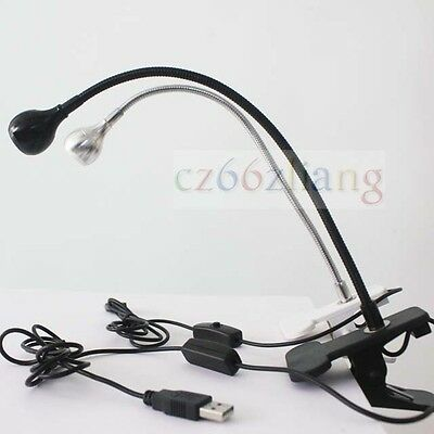 USB Flexible LED Light Bed Lamp Reading Desk Lamp Easy Clip On For Table white