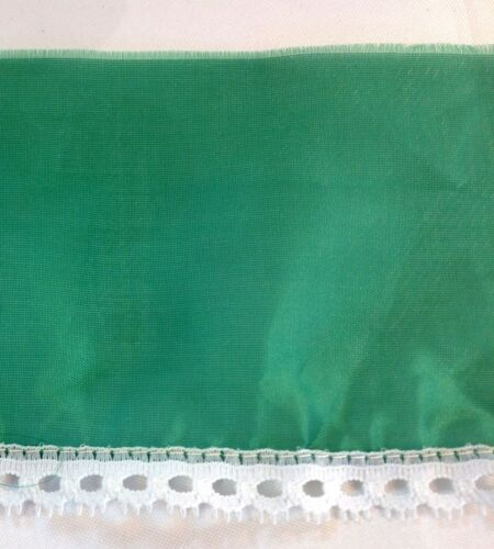 Vintage Emerald Green Sheer White  Lace    3 1//2 inches wide    2 yard