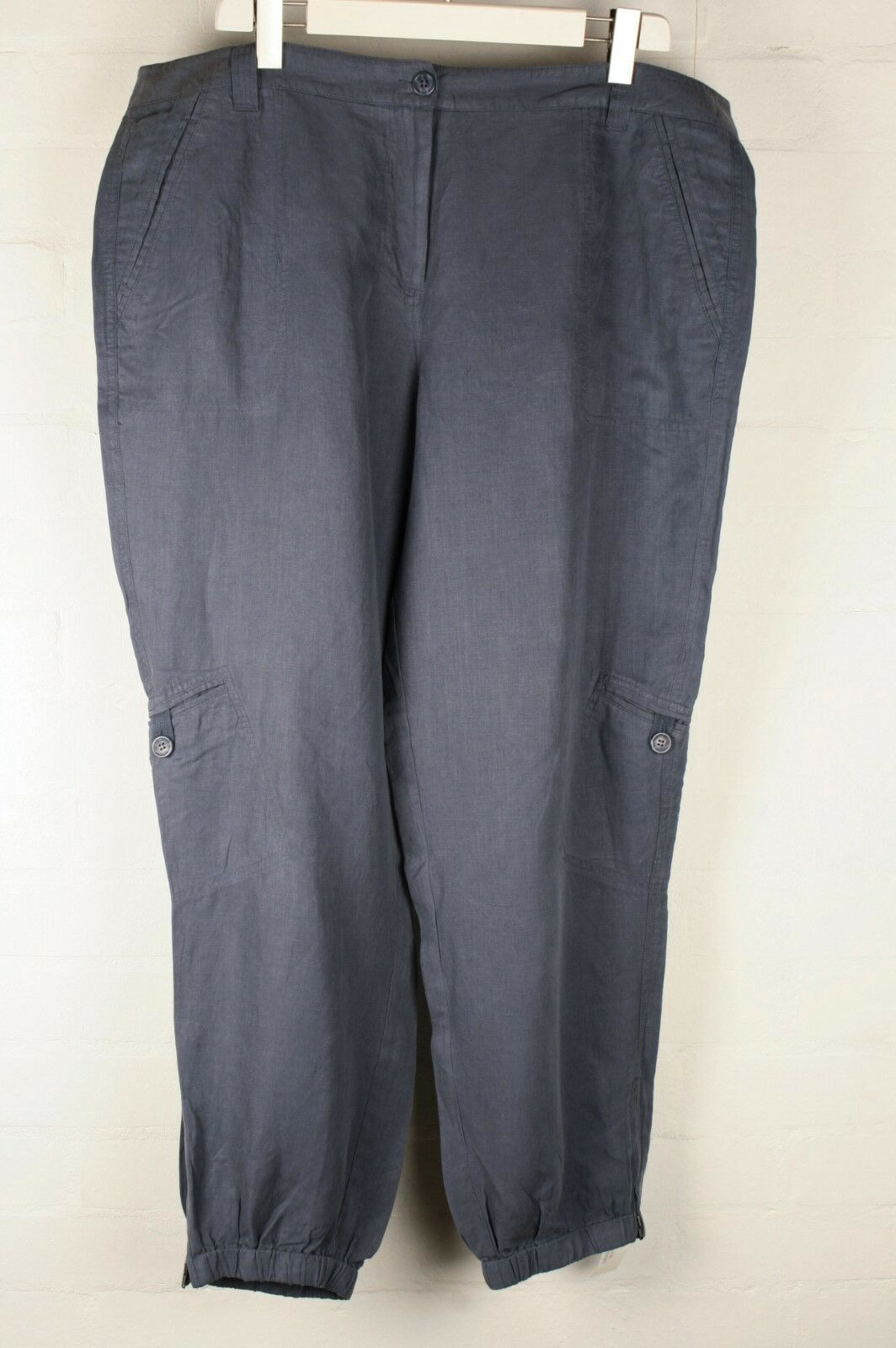 Poetry BNWT bluee Linen Silk Cuffed Cargo Trousers sz 22
