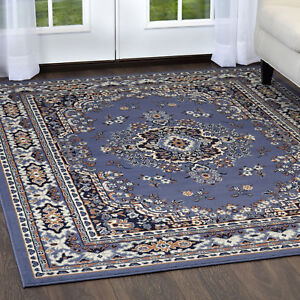 Persian Blue Area Rug 4 X 6 Small Oriental Carpet 69 Actual 3 7