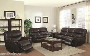 Partridge Casual Brown Reclining Sofa Loveseat Recliner With Pillow Top Arms