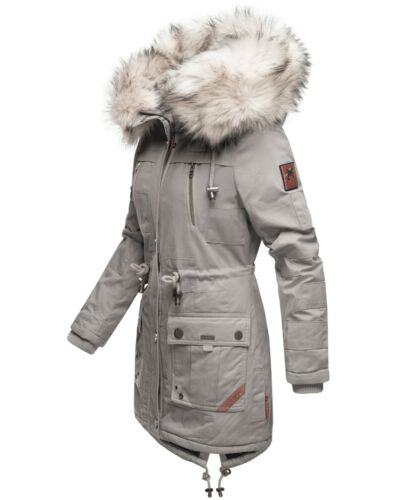 Navahoo Damen Winter Jacke Parka Kurz Mantel Baumwolle Kunst-Fellkragen Honigfee