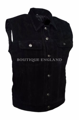 New Mens Trucker Real Cowhide Leather Waistcoat Black Suede Classic Western 1280