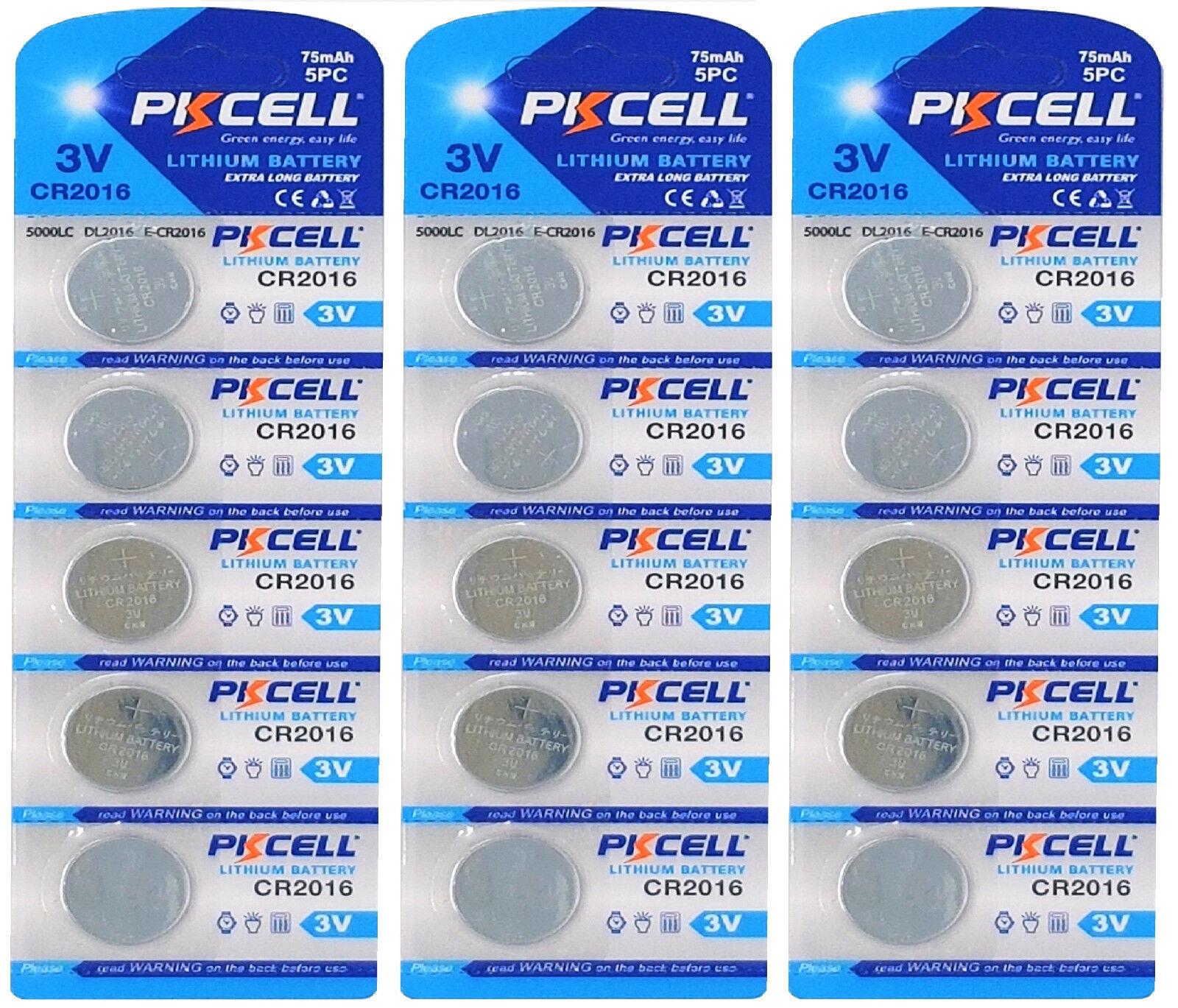 ☀ ☀ ☀ ☀ ☀ 15 x CR2016 3V Lithium Button Cell 75 Mah (3 Card A 5 batteries) PK