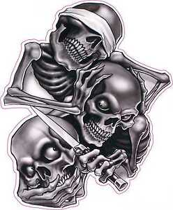 See No Hear No Speak No Evil Skull Tattoo Vinyl Sticker Decal 5