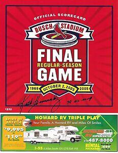 Cardinals KEITH HERNANDEZ Signed FINAL GAME at Busch Stadium 2 SCORECARD a