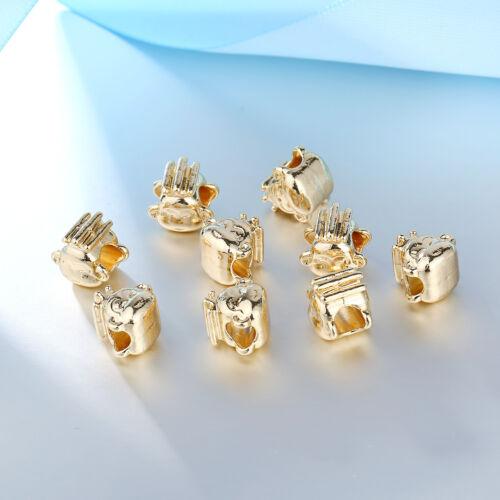 4Pcs Plaqué Or Mignon Singe Head Beads Fit European Charm Bracelet