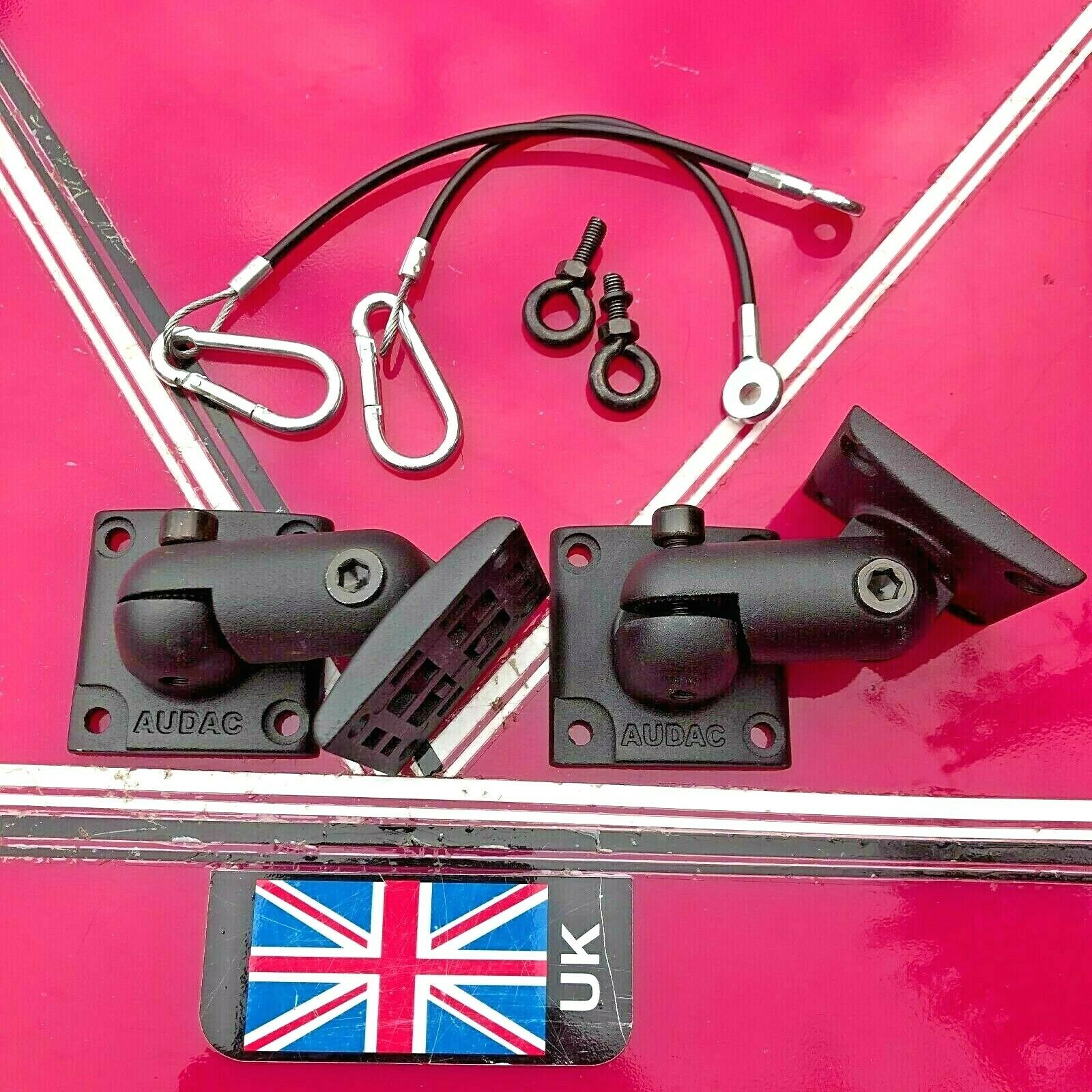 Audac Speaker Brackets (pair) with safety cable & two eye bolts