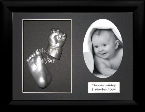 New Newborn Baby Casting Kit Set Silver Christening or Shower Gift /& Black Frame