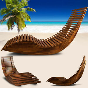 Sdraio A Dondolo In Legno.Dettagli Su Sdraio Chaise Lounge Lettino Sedia A Sdraio Dondolo Da Giardino In Legno Acacia