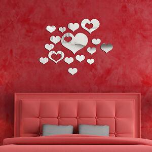 Adesivi murali 3d cuore specchio decal home decor for Adesivi murali 3d