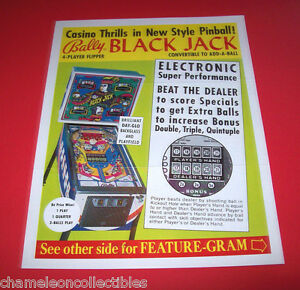 speical offer cheap for discount detailed look Details about BLACK JACK By BALLY 1976 ORIGINAL ELECTRONIC PINBALL MACHINE  SALE FLYER BROCHURE