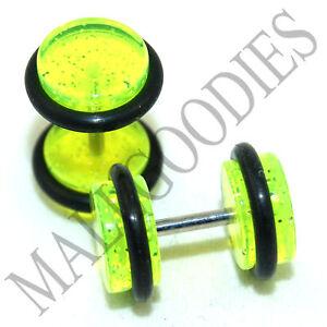 1174-Fake-Cheater-Illuion-Faux-Plugs-Studs-Gauges-Green-Glitter-0G-Look-16G-Bar