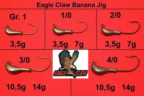 5x Eagle Claw Long Banana Jig Kopf Jighaken Jigköpfe Bleikopf
