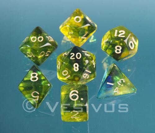 DICE Game FIREFLY BLUE Gem Blitz 7-pc Set d20 d10 d6