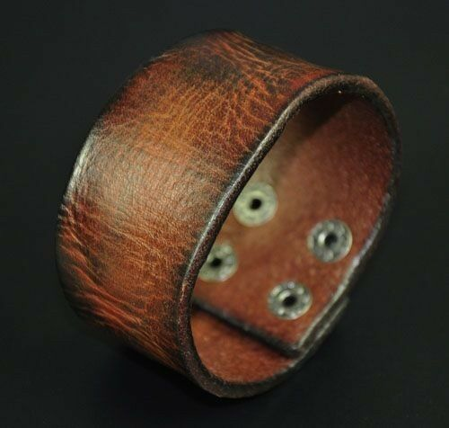 S301 Vintage Texture Genuine Leather Bracelet Wristband Men's Wide Cuff BROWN