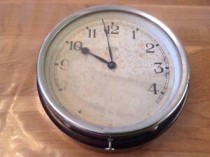 Antique-Smiths-Motor-Accessories-Bakelite-amp-Chrome-Wall-Clock-7X2-5-034-To-Restore