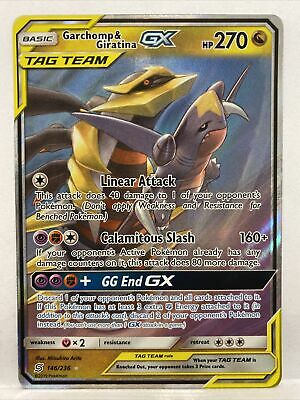 Pokemon Garchomp /& Giratina Gx Unified Minds 146//236 Half Art Holo Mint