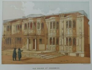 Antique-lithograph-print-Old-palace-at-Greenwich-Leighton-Bros