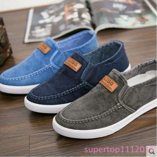 Men/'s Driving Shoes Canvas Chaussures respirant Slip-on chaussures mode sneakers SY01