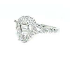 5-CT-Pear-Shape-Halo-Single-Shank-DIAMOND-Mounting-Ring-Setting-14K-White-Gold
