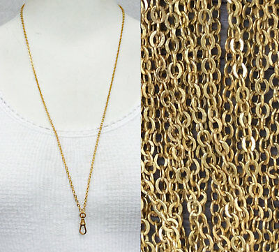 "Fashion Jewelry Shop For Cheap Victorian Watch Chain Necklace Chatelaine 29"" Old Gold Repro Muff Guard Lanyard"