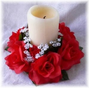 Roses candle ring red wedding centerpieces silk flowers ebay image is loading roses candle ring red wedding centerpieces silk flowers junglespirit Choice Image