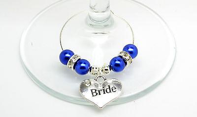 Blu Scuro Perla Personalizzato Matrimonio Famiglia Tavolo Partito Da Vino In Vetro Charms-mostra Il Titolo Originale In Molti Stili