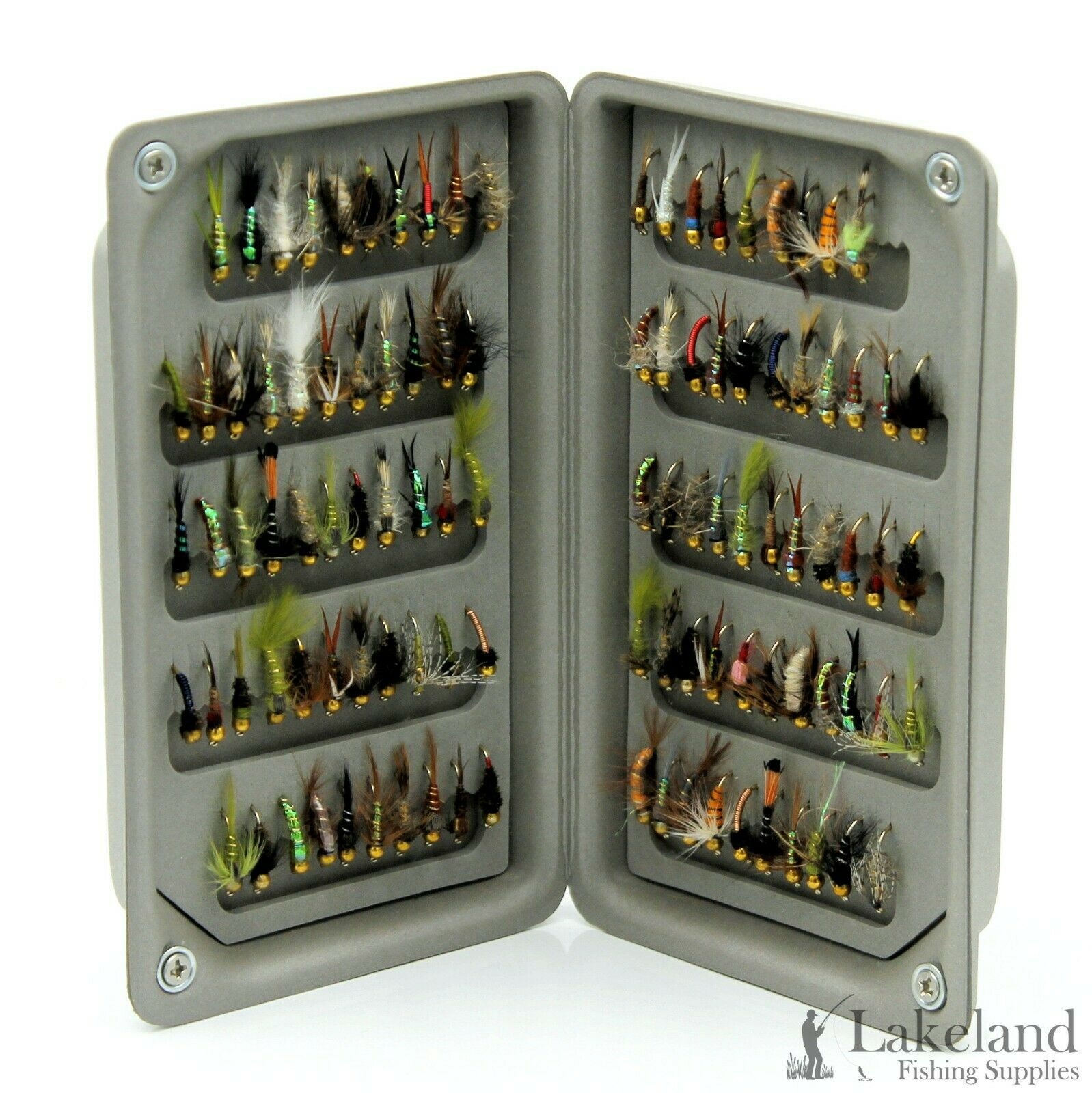 EVA Foam Fly Box + Mixed Assorted Gold Head Nymph Trout Flies for Fly Fishing