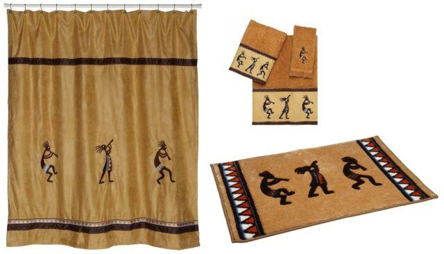 Avanti Linens Kokopelli Shower Curtain Towel Set Rug Gold