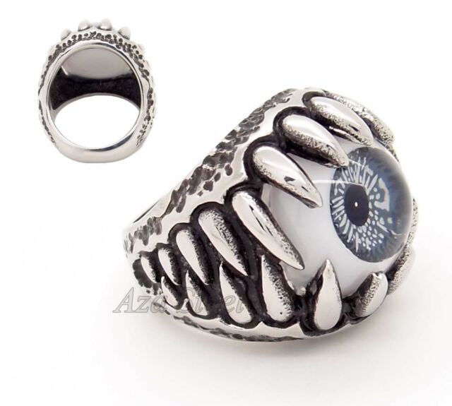 MENs Silver Black EYE Stainless Steel Jaw Ring US Size 8, 9,10,11,12
