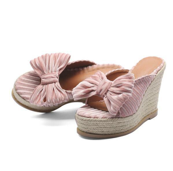 Outwear Damen Keilabsatz Sommer Slipperschuhe Schleife Platform Pantoletten