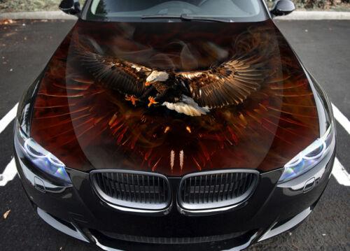 Eagle Birds Fire Car Hood Wrap Full Color Vinyl Sticker Decal Fit Any Car