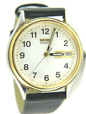 CLASSIC SEIKO  MEN' S WATCH/DAY & DAY AT 3 O'CLOCK/LEATHER BAND/7N43-8A99