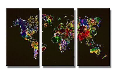 Quadro Su Tela Quadri Moderni Mappa Mundo 160 X 90 Cm 3 Tele Modello : Xxl 1171 Attraente E Durevole