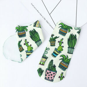 3-D-Pattern-Breathable-Cactus-Plant-Printed-Short-Sock-Ankle-Sock-Boat-Sock