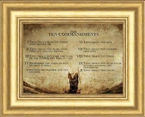 The 10 Ten Commandments Framed Print Gold Moulded Frame Statues