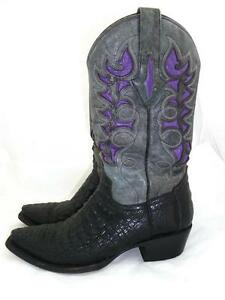 0893ed26d1a Details about RESISTOL RANCH LUCCHESE USED WOMAN 7.5 M CAIMAN/GATOR LEATHER  COWBOY BOOTS 3509