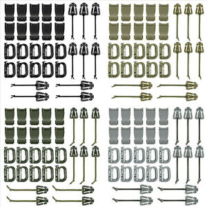 30 Pcs Tactical Gear Clip Set Strap for Molle Backpack D-Ring Grimloc Vest Belt