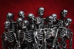 "12 Lot Miniature Dollhouse Plastic Skeletons 6"" Black Small Halloween Decoration"