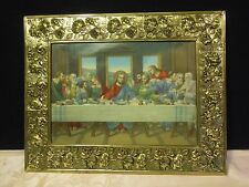 Vintage Last Supper Picture Decorative Gold Flower Frame 10X13 Wood Back