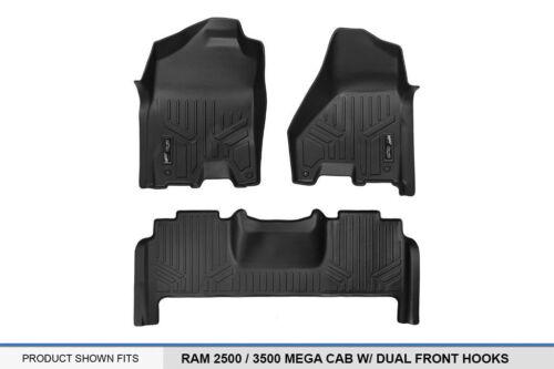 Maxliner 12-18 Fits Dodge Ram 2500 3500 MegaCab Dual Hooks Floor Mats 2 Row Set