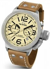 TW Steel Canteen Mens Silver 50mm Chronograph Watch Tan Leather Strap CS14