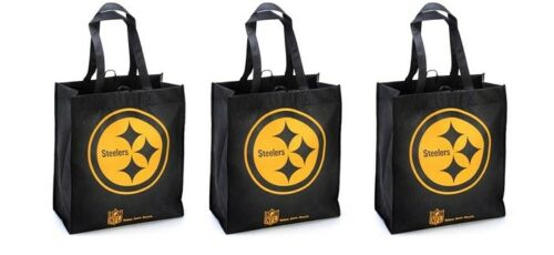 3 Pittsburgh Steelers Reusable Shopping Grocery Tote Gift Bags Go Green NEW